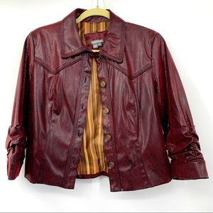 Anthracite Faux Leather Jacket Size 4 Brown